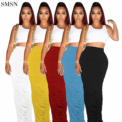 New Arrival 2021 Casual Skirt Candy Color Pleated Solid Color Two Wear Skirt