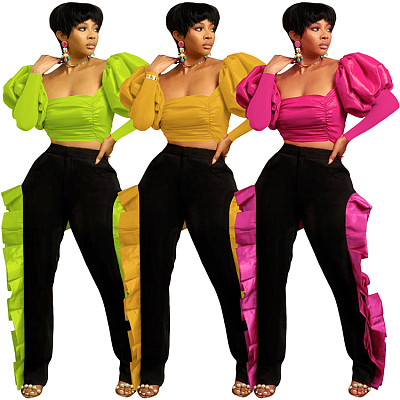 Newest Design 2021 Casual Fall 2 Piece Set Women Clothing Puff Sleeve The Butterfly Pants Club Wear Two Piece Set