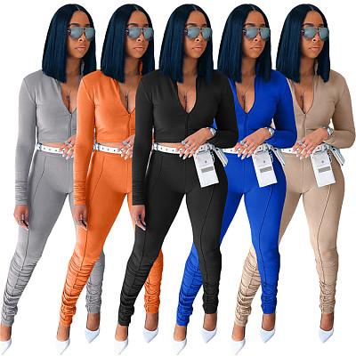 Good Quality Crop Top Zipper Sports Set 2 Piece Ladies Autumn Solid Color 2 Piece Suit Women Two Piece Pants Set