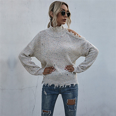 Hot Selling Autumn High neck Pullover shoulder Hollow Out knit sweater fall sweaters women tops