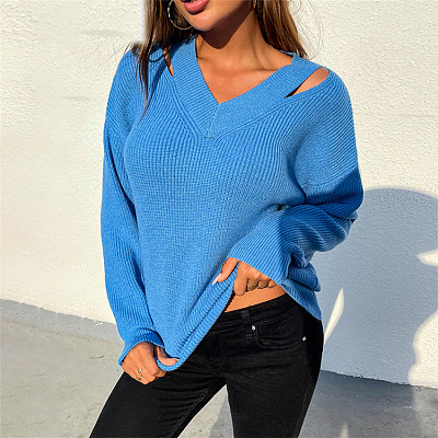 Hot Selling V neck Pullover shoulder strap buckle Hollow Out knit sweater fall sweaters women tops