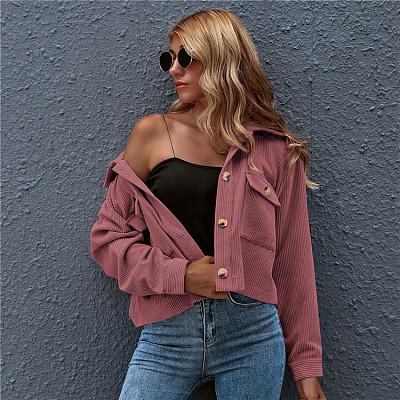 New Style women coats 2021 fall apparel cardigan sweater coat for women Fashionable Corduroy Shirts