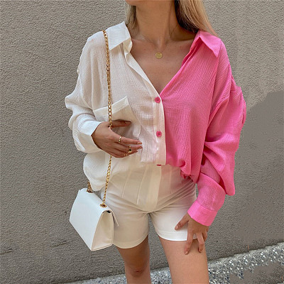 2021 Summer Contrast Color Ladies' Blouses Tops Long Sleeve Single Breasted Women's Sexy Top Woman Tops Fashionable