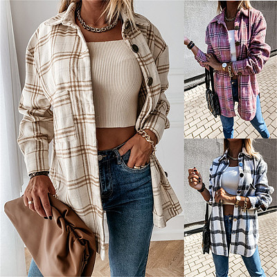 Newest Design Long Sleeve Plaid Button Coats Ladies Women Tops Corduroy Solid Jackets Winter Clothes For Women