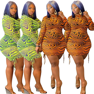 New Trendy 2021 Autumn Plus Size Women Dress Casual Long Sleeve Tulle Club Dress