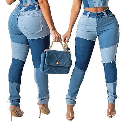 FONDPINK High Quality Summer 2021 Patchwork Custom Denim Jeans Women Jeans Fashion Female Clothing