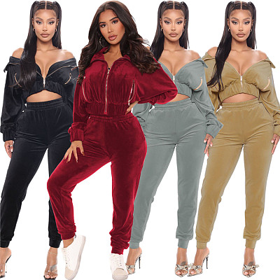 High Quality 2021 Autumn Casual Sports Solid Color Zipper Two Piece Pants Set Women Clothing 2 Piece Set