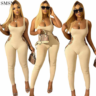 New Arrival 2021 Fall Jumpsuits Fashion Solid Color Suspenders Backless Cut-Out Slim Pants Jumpsuit