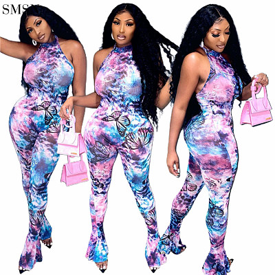 High Quality Fall One Piece Jumpsuit Sexy Net Print Sleeveless Neck Jumpsuit