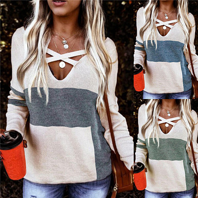 Hot Sale 2021 Spring Casual V Neck Knit Sweater Womens Clothes Woman Tops Fashionable Women Blouses Ladies