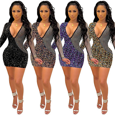 Newest Design 2021 Print Long Sleeve Rhinestone Sequins Panelled Sexy Summer Women Dresses