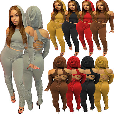Newest Design Casual Solid Color Hoodie Fall 2 Piece Set Women Sexy Strapless Back Bandage Bodycon Two Piece Pants Set