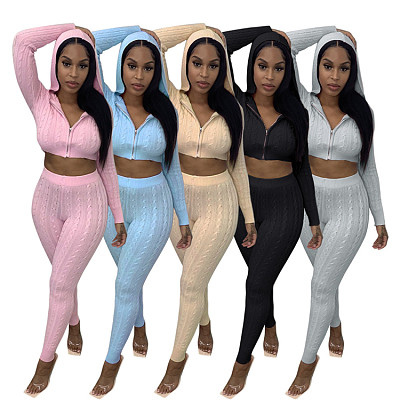 Newest Design Casual Zipper Hoodies Crop Top Sweater Fall 2 Piece Set Women Clothing Solid Color Two Piece Pants Set