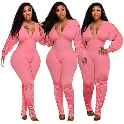 New Arrival 2021 Long Sleeve Bodysuit Temperament Solid Color Pleated Sleeve Sexy Deep V Jumpsuit