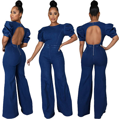 New Arrival 2021 Fall One Piece Jumpsuit Bubble Sleeve Hollow-Out Zipper Round Collar Short Sleeve Denim Jumpsuit