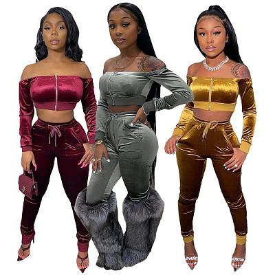 Best Design 2021 Casual Strapless Zipper Crop Top Fall 2 Piece Set Women Clothes Solid Color Velvet Two Piece Pants Set