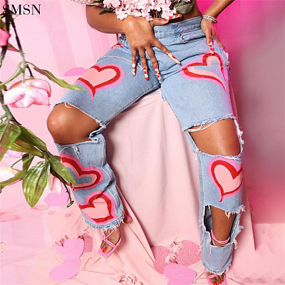 Latest Design Ripped Jeans Fashion Hollow-Out Printed High Waist Straight Leg Casual Jeans