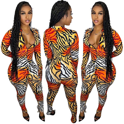 New Arrival 2021 Fall One Piece Jumpsuit Sexy Long Sleeve Printed Tiger Print Jumpsuit