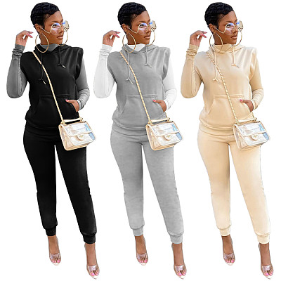 New Arrival 2021 Casual Sports Fall 2 Piece Set Women Clothing Solid Color Sleeveless Hoodies Two Piece Pants Set
