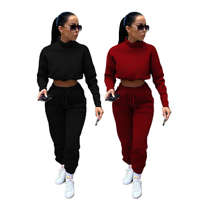 New Arrival Casual Sports Solid Color Hoodless Turtleneck Sweater Fall 2 Piece Set Women Clothing Two Piece Pants Set
