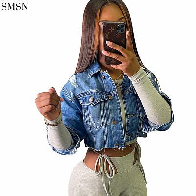 Latest Design Women Jackets And Coats 2021 Fashion Denim Broken Copper Wash Denim Jacket