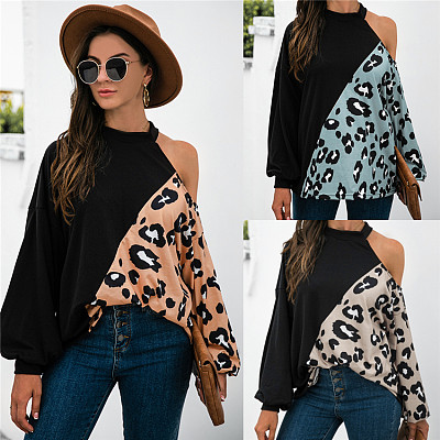 Wholesale Fashion 2021 Long Sleeve Leopard Print Panelled Loose Woman Top Fashionable Women Blouses Ladies