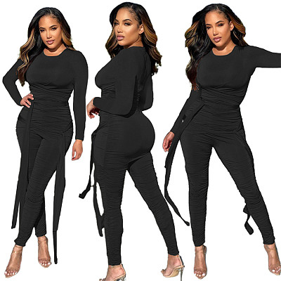 Latest Design Long Sleeve Bodysuit Temperament False Two Black Milk Silk Pleated Slim Jumpsuit