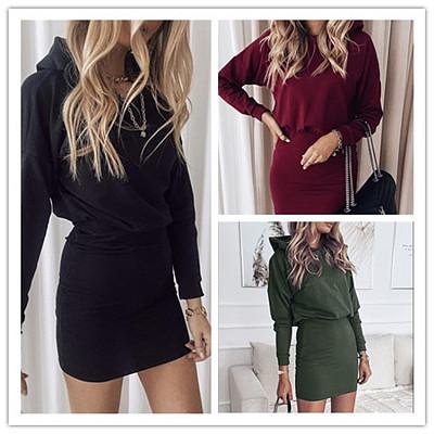 Autumn Winter Long Sleeve Hooded MIni Dress Women Solid Color Casual Dress Women