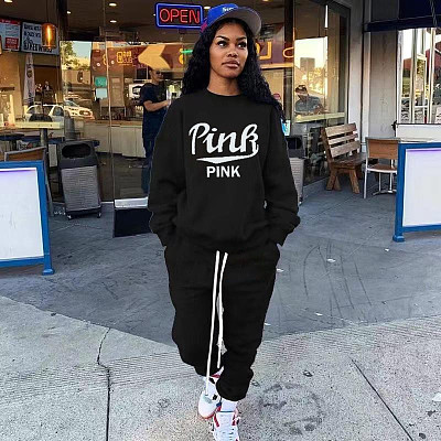 Fall And Winter New Plus Size Women Clothing Sports Suit Letter Print Women 2 Piece Set