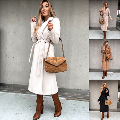Autumn Winter New Arrival Women Fashion Clothing Solid Womens Long Winter Coat Bandge Women Jackets For Ladies