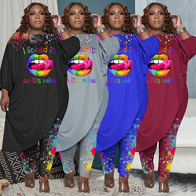 Hot Selling Fall Women Clothes Plus Size 2 piece Set Print Long Sleeve Large Size Two Piece Pants Set