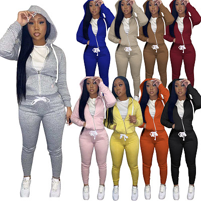 Hot Selling Fashion Casual Skinny 2 Pcs Track Suit Outfits Two Piece Pants Set Women Clothing