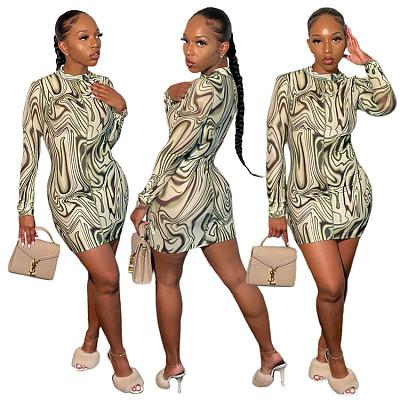 Best Design Solid Long Sleeve Irregular Print Mini Sexy 2021 Woman Casual Summer Dresses