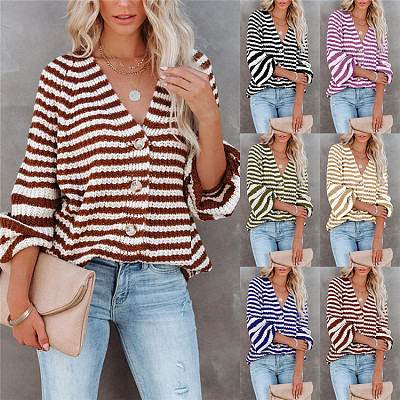 Hot Sale 2021 Autumn Winter Casual V Neck Striped Knit Sweater Womens Clothes Woman Tops Fashionable Women Blouses Ladies