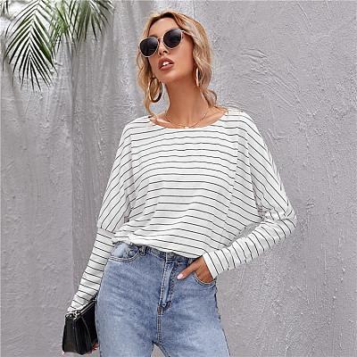 Wholesale Fashion 2021 Summer Long Sleeve Striped Print Woman Top Fashionable Women Blouses Ladies