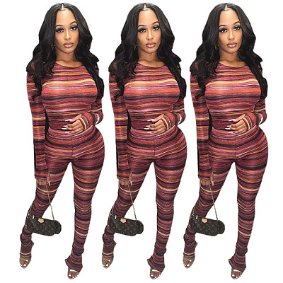 Best Design Long Sleeve Top Bodycon Fall 2 Piece Set Women Clothing Painted Printing Micro Flared Pants Two Piece Set