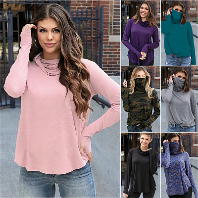 2021 Long Sleeve High Neck Casual Autumn Solid Color Women's T-Shirt Women Top Blouse