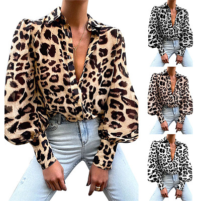 Autumn Trendy Casual T Shirts Lapel Neck Single-Breasted  Leopard Print  Tops Blouses for Women
