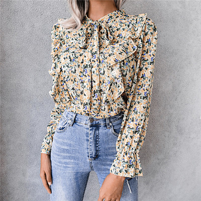 Hot Sale 2021 Autumn Casual Bandge Ruffle Print Womens Clothes Woman Tops Fashionable Women Blouses Ladies