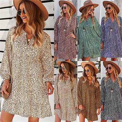 Autumn Long Sleeve Leopard Print Slim MIni Dress Loose Women Casual Dress Women