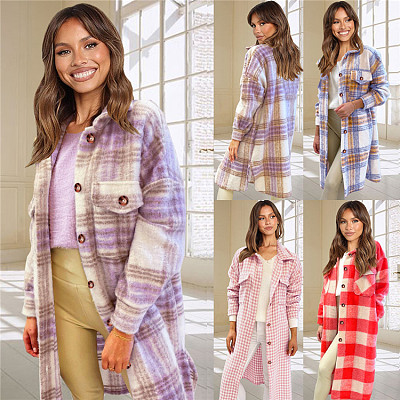 Autumn Winter New Arrival Women Fashion Clothing Plaid Womens Long Winter Coat Women Jackets For Ladies