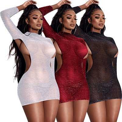 New Trendy Solid Color Sexy Club Dress Long Sleeve Waist Hollow Out Bodycon Bag Hip Dress