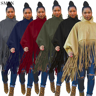 Good Quality Women Tops Fashionable Fall And Winter Solid Color Long Sleeve Fringed Top
