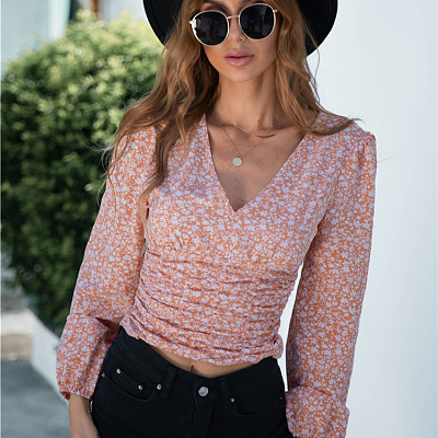 2021 Autumn Trendy Casual T Shirts V Neck Long Sleeve Print  Tops Blouses for Women