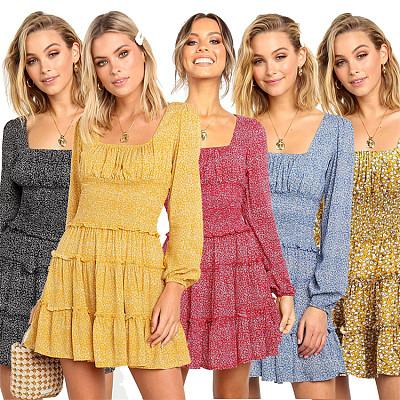 Autumn Fashion Long Sleeve Floral Print Slim MIni Dress Loose Women Casual Dress Women