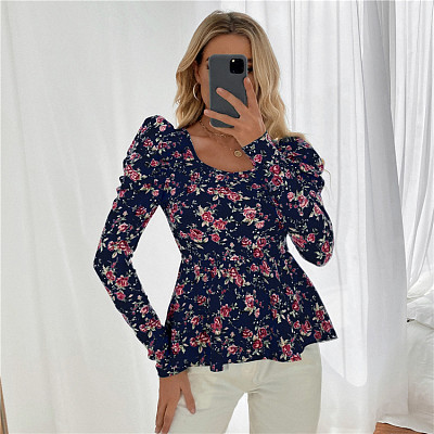 Wholesale Women Long Sleeve Fashion Print blouse and tops stock lots Woman Tops Fashionable