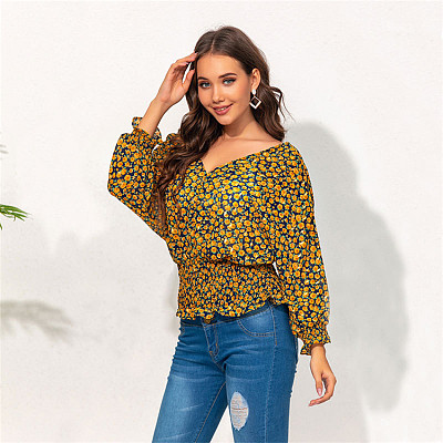 Hot Sale 2021 Casual Long Sleeve V Neck Print Womens Clothes Woman Tops Fashionable Women Blouses Ladies