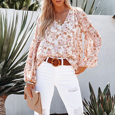 Autumn Trendy Casual T Shirts V Neck Lantern Sleeve Floral Print Tops Blouses for Women