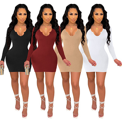 Autumn New Style Sexy Solid Color Long Sleeve V Neck Women Lady Elegant 2021 Women Clothing Dress cheap casual women dress