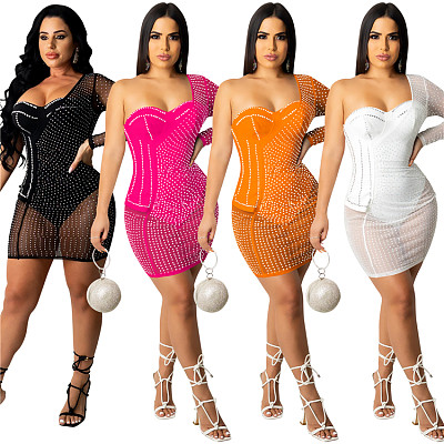 New Arrival One Shoulder Popular vestidos mujer New 2021 Woman Casual Dress Short Dress sexy night dress